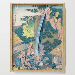 Katsushika Hokusai Waterfall Woodblock Print Serving Tray