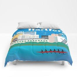 Hartford, Connecticut - Skyline Illustration by Loose Petals Comforters