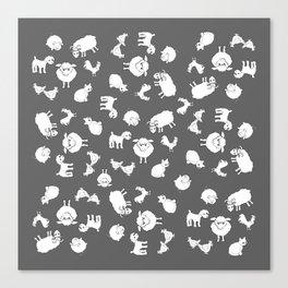 The Little Farm Animals, white on grey Canvas Print