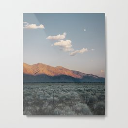 Sierra Mountains with Harvest Moon Metal Print