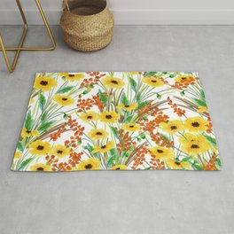 Sunshine yellow orange brown green watercolor floral Rug