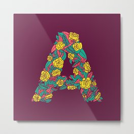Floral Type - Letter A - Wine Berry Metal Print