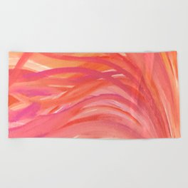 Abstract Pink Orange Purple Stripes Painting Girl Summer Colorful Beach Towel