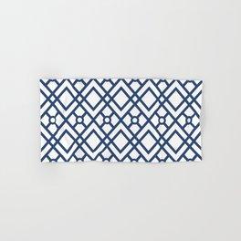 Modern Geometric Diamonds and Circles Pattern Navy Blue and White Hand & Bath Towel