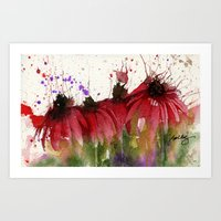 Coneflowers in Red Art Print
