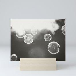 Bubble Photography, Black and White Bathroom Art, Laundry Room Photo Mini Art Print