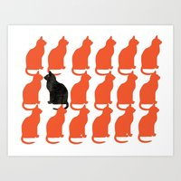 silhouette Art Prints featuring CATTERN SERIES 2 by Catspaws