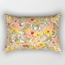 Late Summer Floral Collage Rectangular Pillow