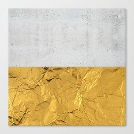 Gold Foil and Concrete Canvas Print