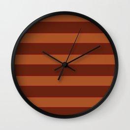 Orange Horizontal Stripes Wall Clock