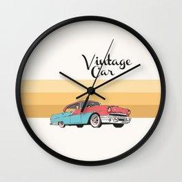 Vintage Car Illustration Wall Clock