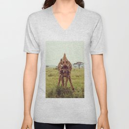 Giraffe Wants to Know Unisex V-Neck