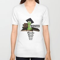 bookworm V-neck T-shirts featuring Cute bookworm by nicky2342