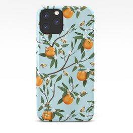 Bees, Oranges & Flowers - Light Blue Pattern iPhone Case