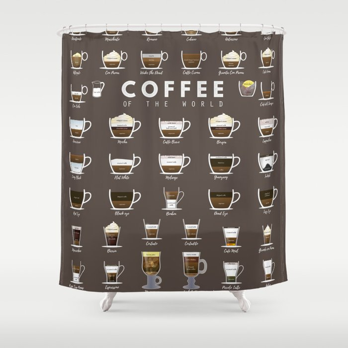 Coffee Chart Shower Curtain