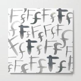 Watercolor F's - Grey Gray Metal Print