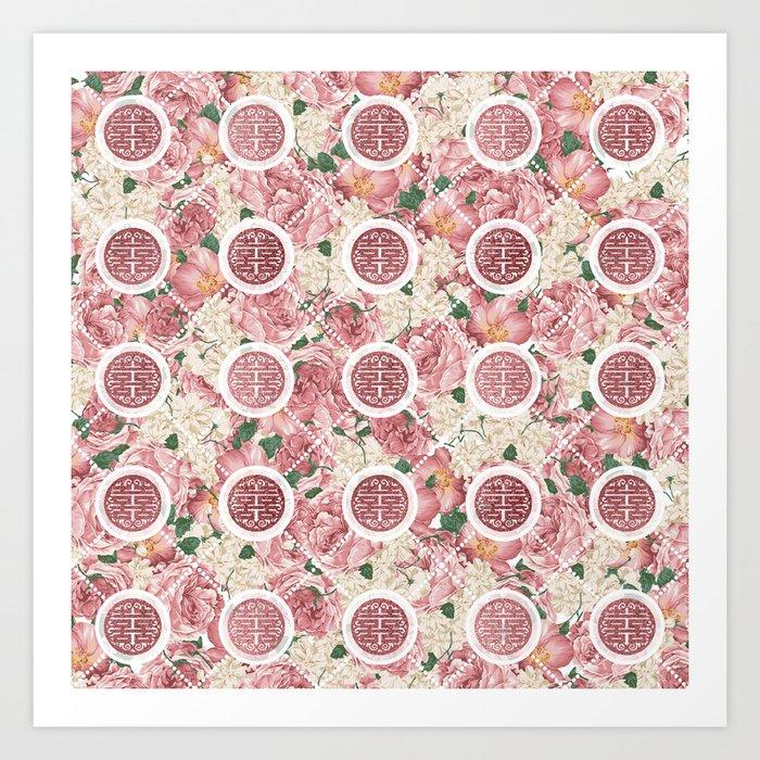 Double Happiness Symbol on Gentle Peony pattern Art Print