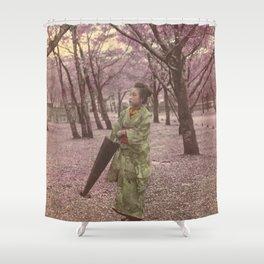 Geisha among Cherry Blossom trees Shower Curtain
