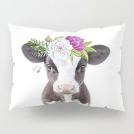 Baby Cow with Flower Crown Pillow Sham
