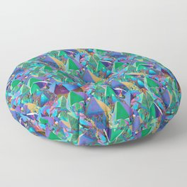 Crystal Shards in Oil Slick Rainbow Aura Floor Pillow