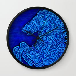 Blue Celtic Horse Abstract Spirals Wall Clock