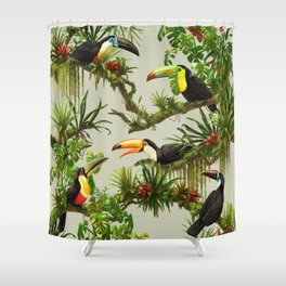 Toucans and Bromeliads (Canvas Background) Shower Curtain