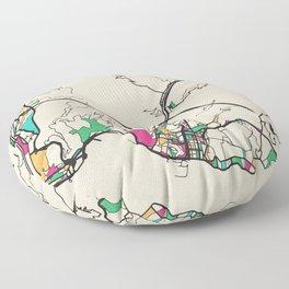 Colorful City Maps: Genoa, Italy Floor Pillow