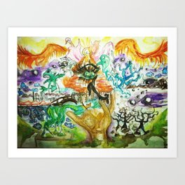 The All Seeing Eye Pyramid Watercolor Painting Art Print