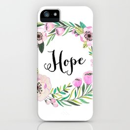 Hope Lettering Watercolor Ilustration iPhone Case