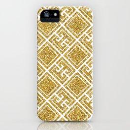 Gold Glitter Greek Pattern iPhone Case