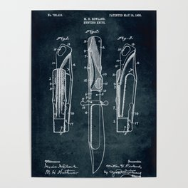 1908 - Hunting knife patent art Poster