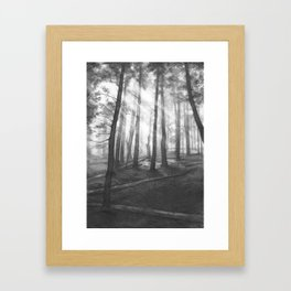 """Soothing Place"" - pencil drawing of the dark forest Framed Art Print"