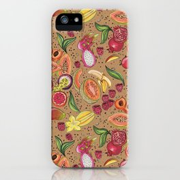 Ready to Eat - Fruit Pattern in Brown iPhone Case