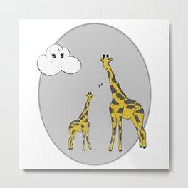 Giraffe Mom + Baby Metal Print