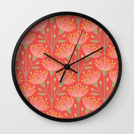 EUCALYPTUS in LIVING CORAL Wall Clock