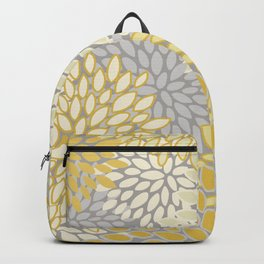 Floral Prints, Soft Yellow and Gray, Modern Print Art Backpack