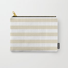 Narrow Horizontal Stripes - White and Pearl Brown Carry-All Pouch