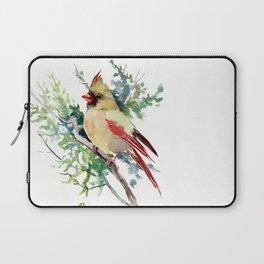 Cardinal Bird Artwork, female cardinal bird Laptop Sleeve