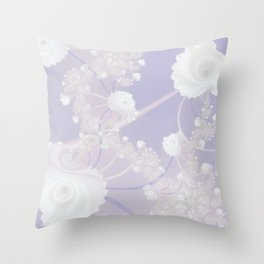 Abstract White Roses and Light Violet Purple Throw Pillow