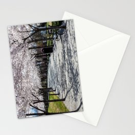 Cherry Blossoms Bloom along Sandy Path at Utah State Capitol Stationery Cards