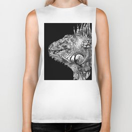 Black And White Iguana Art - One Cool Dude 2 - Sharon Cummings Biker Tank