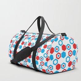 Retro Hexagons - Red White and Blue Duffle Bag