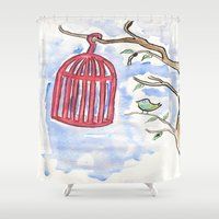 nicolas cage Shower Curtains featuring Bird + Cage by  Lèña
