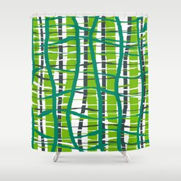 Wiggle Plaid Green Shower Curtain