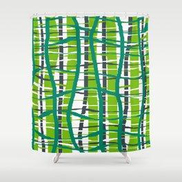 Wiggle Plaid Green Shower Curtain