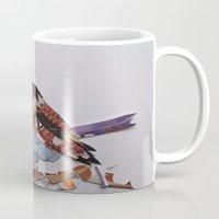 sparrow Mugs featuring sparrow by Ruud van Koningsbrugge