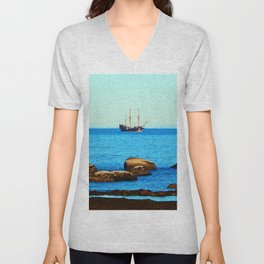 Spanish Galeon by the Rocks Unisex V-Neck