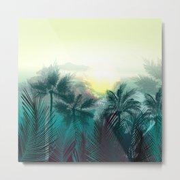 Tropical landscape. Pampa jungle trees, palms Metal Print