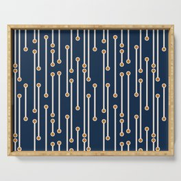Dotted Lines in Navy, Cream and Orange Serving Tray
