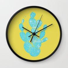 Linocut Cactus #1 Desert Blue Wall Clock